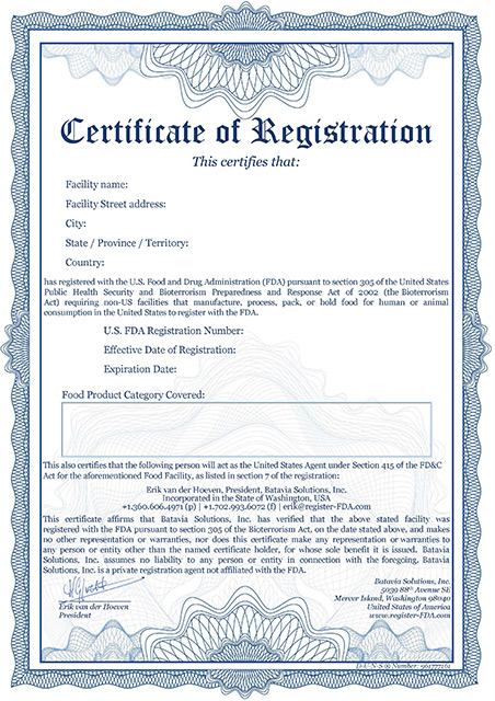 Amazon FDA Certificate – A - Register FDA