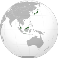 Globe of Japan and Singapore